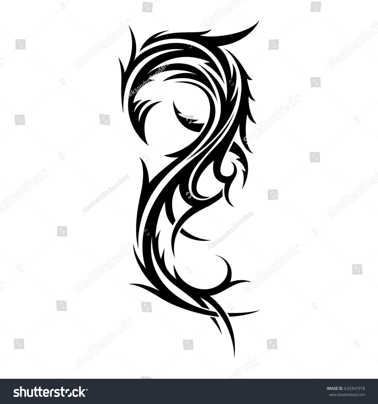 Abstract Tribal Tattoo Design Template Isolated Stock Vector