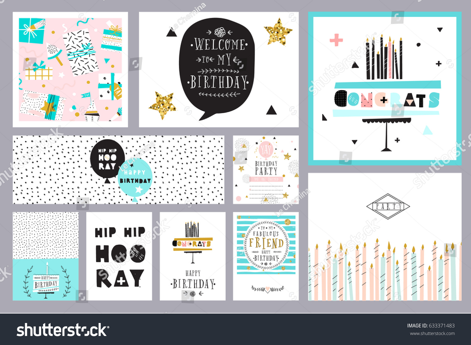 Set Birthday Cards Vector 633371483 Shutterstock – Set of Birthday Cards