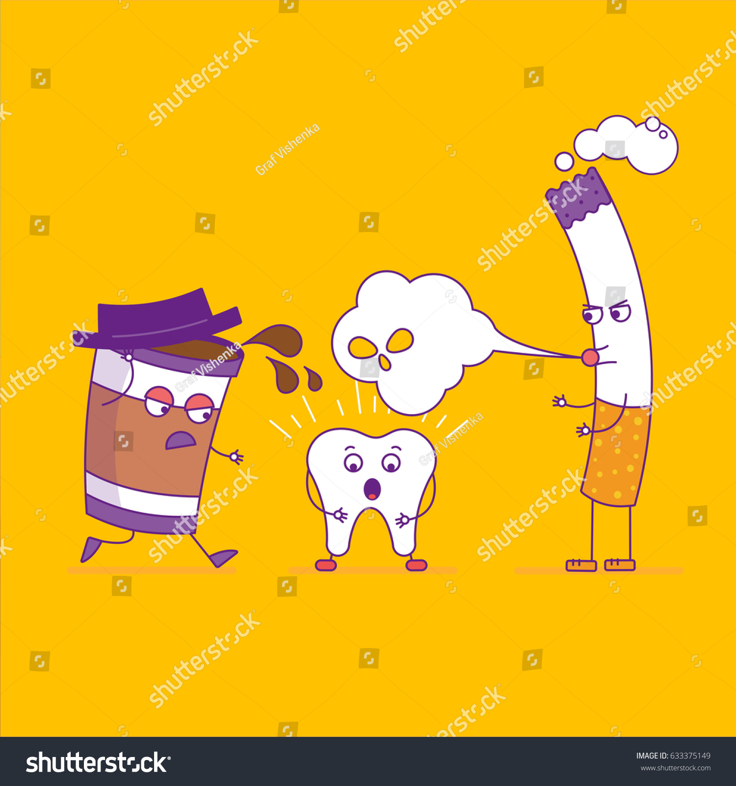 Larger preview vector clip art of a happy yellow coffee cup character - White Tooth Fights Cigarette And Paper Coffee Cup Cartoon Characters In Flat Line Style