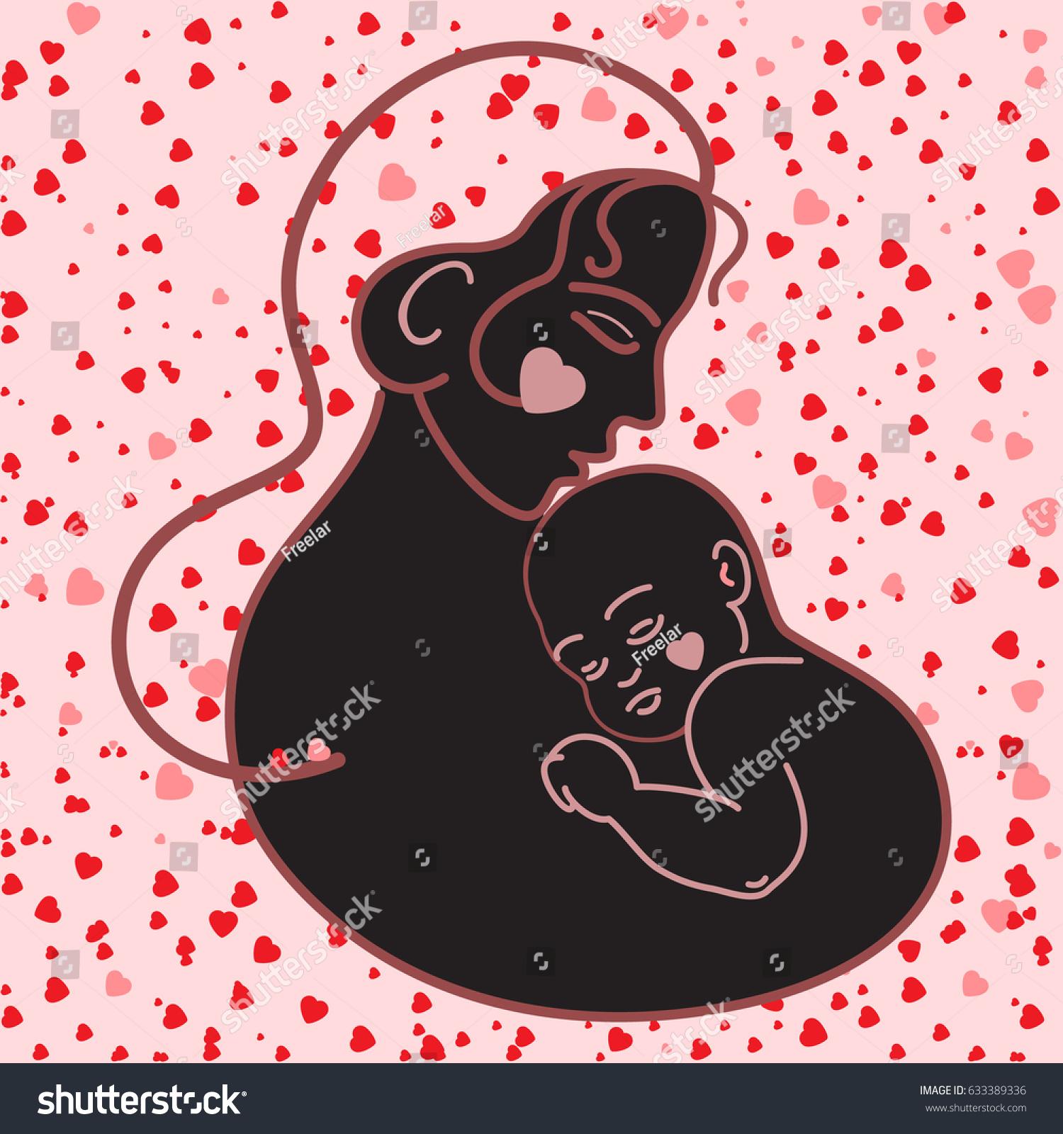 People Logosmothermadonnasaint Mary Silhouette Baby Jesus Stock ...