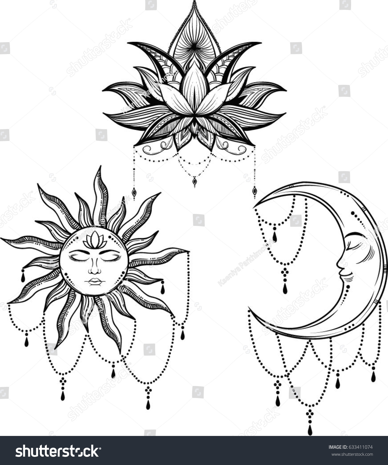 Beautiful Sun Face Symbol Tattoo Design Vector Stock Vector Royalty