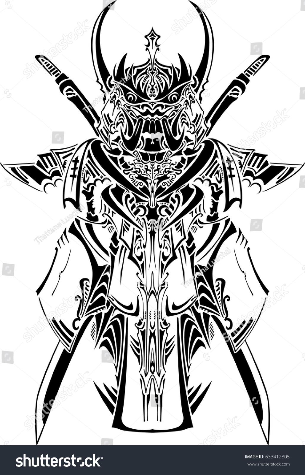 Vector Tribal Samurai Mask Tattoo Stock Vector Royalty Free 633412805