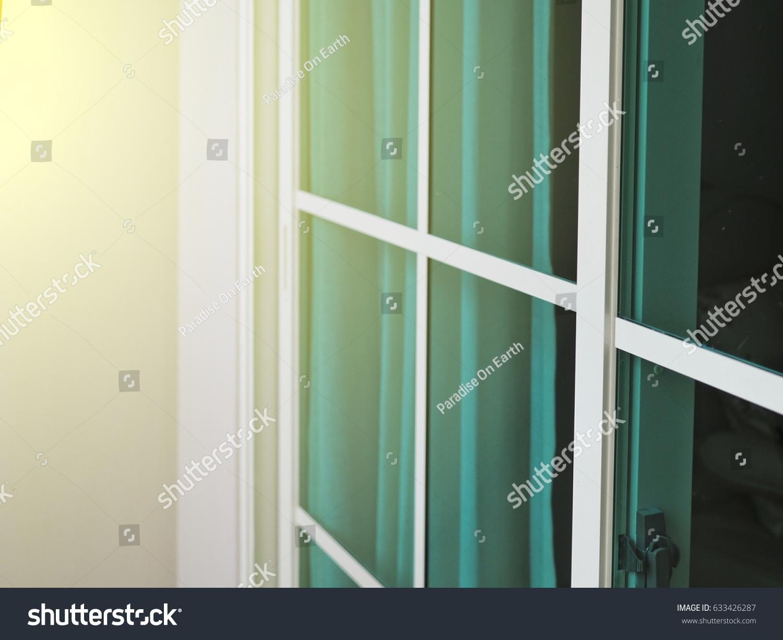White Aluminium Sliding Glass Doors Green Stock Photo Edit Now