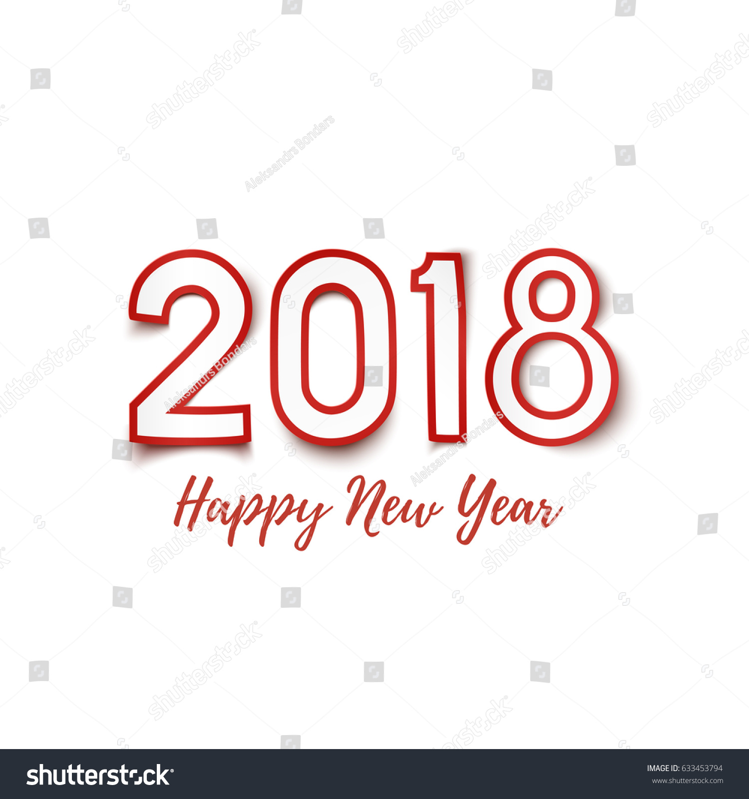 Happy New Year 2018 Template Poster Stock Illustration 633453794 ...
