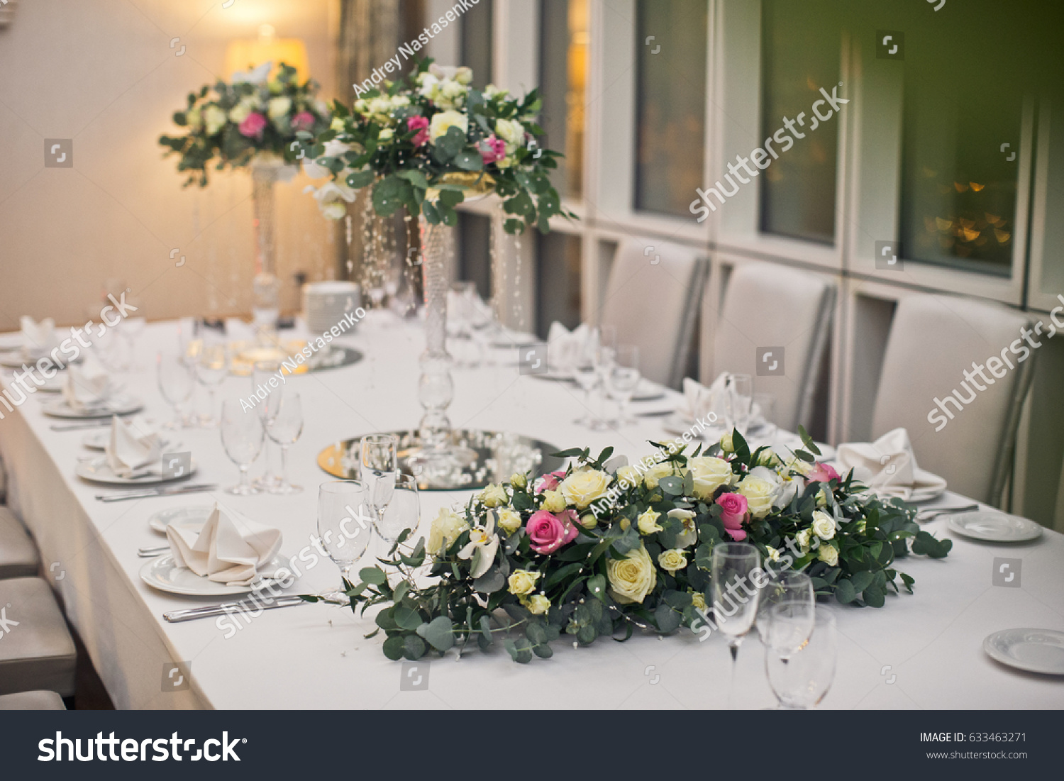 Bouquets Of Pink And Yellow Roses Lie On White Dinner Table Ez Canvas