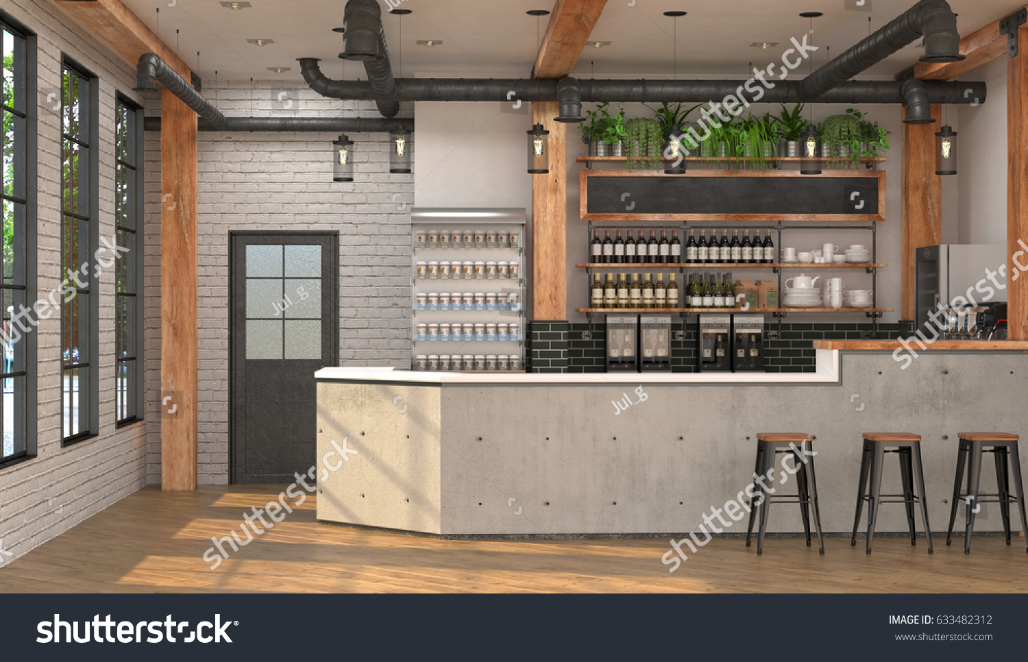 decoration interieur vintage moderne loft turquoise vintage d salon en styles en photos Modern design of the bar in loft style. 3D visualization of the interior of  a