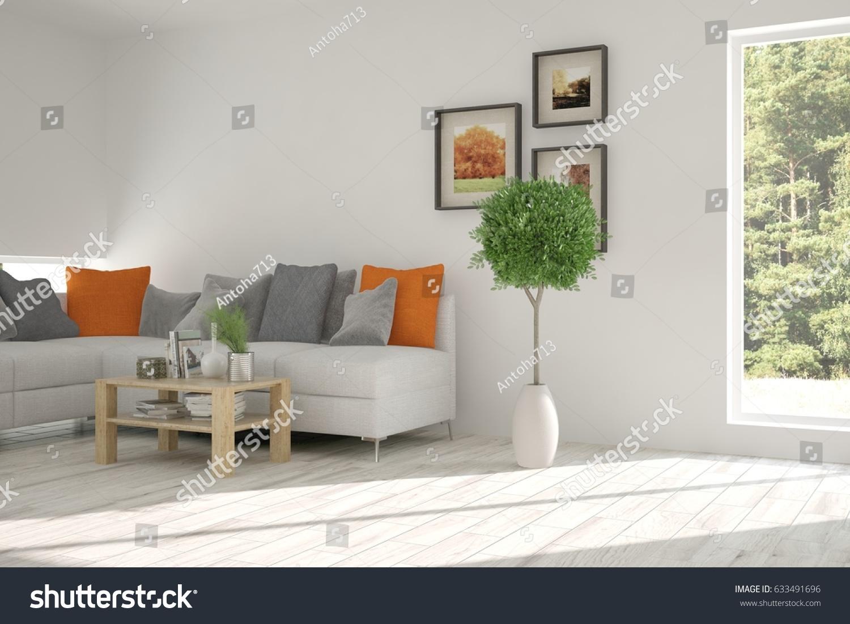 White Room Sofa Green Landscape Window Stock Illustration 633491696 ...