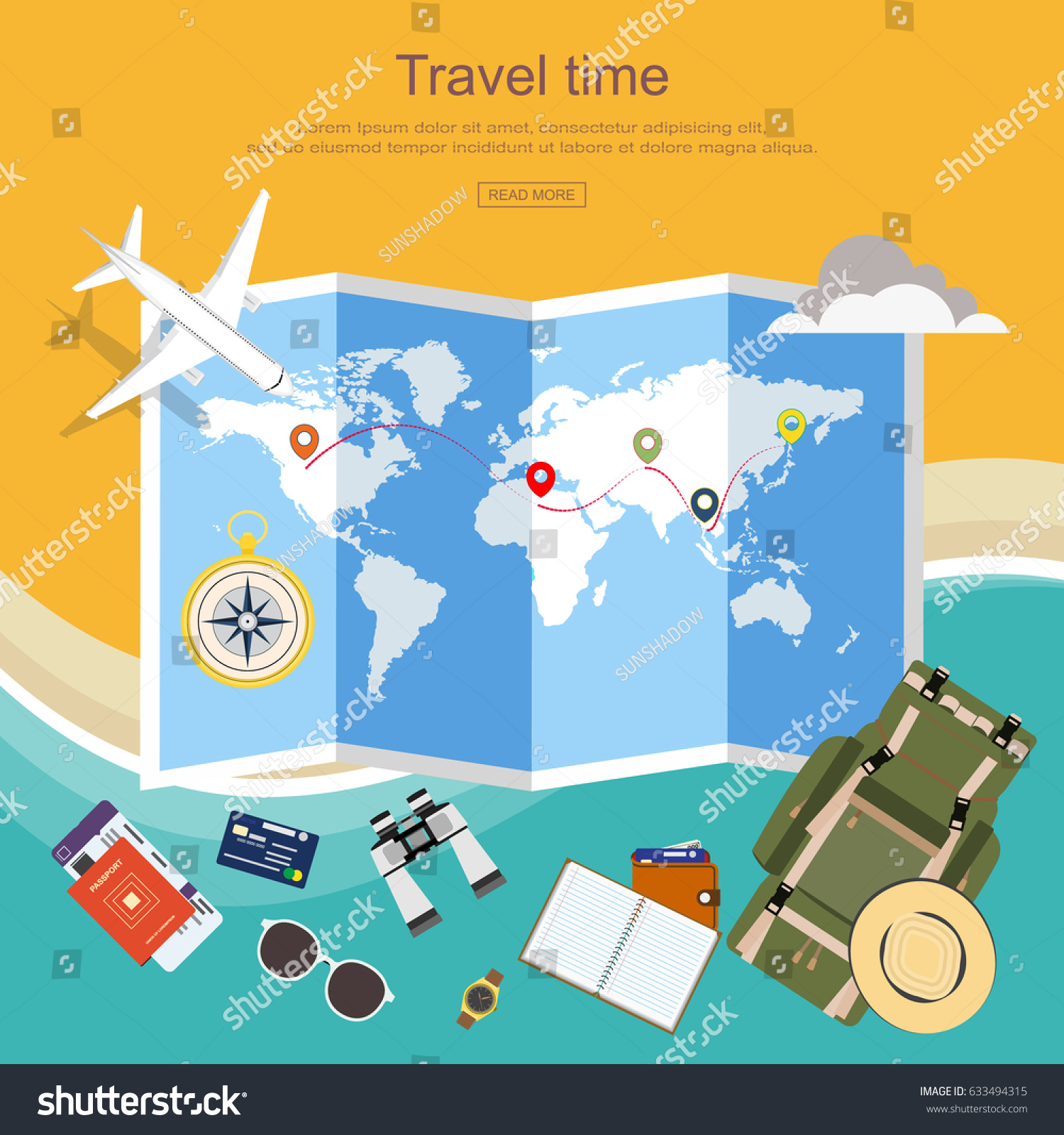 Flat design travel planner travel around vectores en stock 633494315 flat design travel planner travel around the world with luggage passport flight ticket gumiabroncs Images
