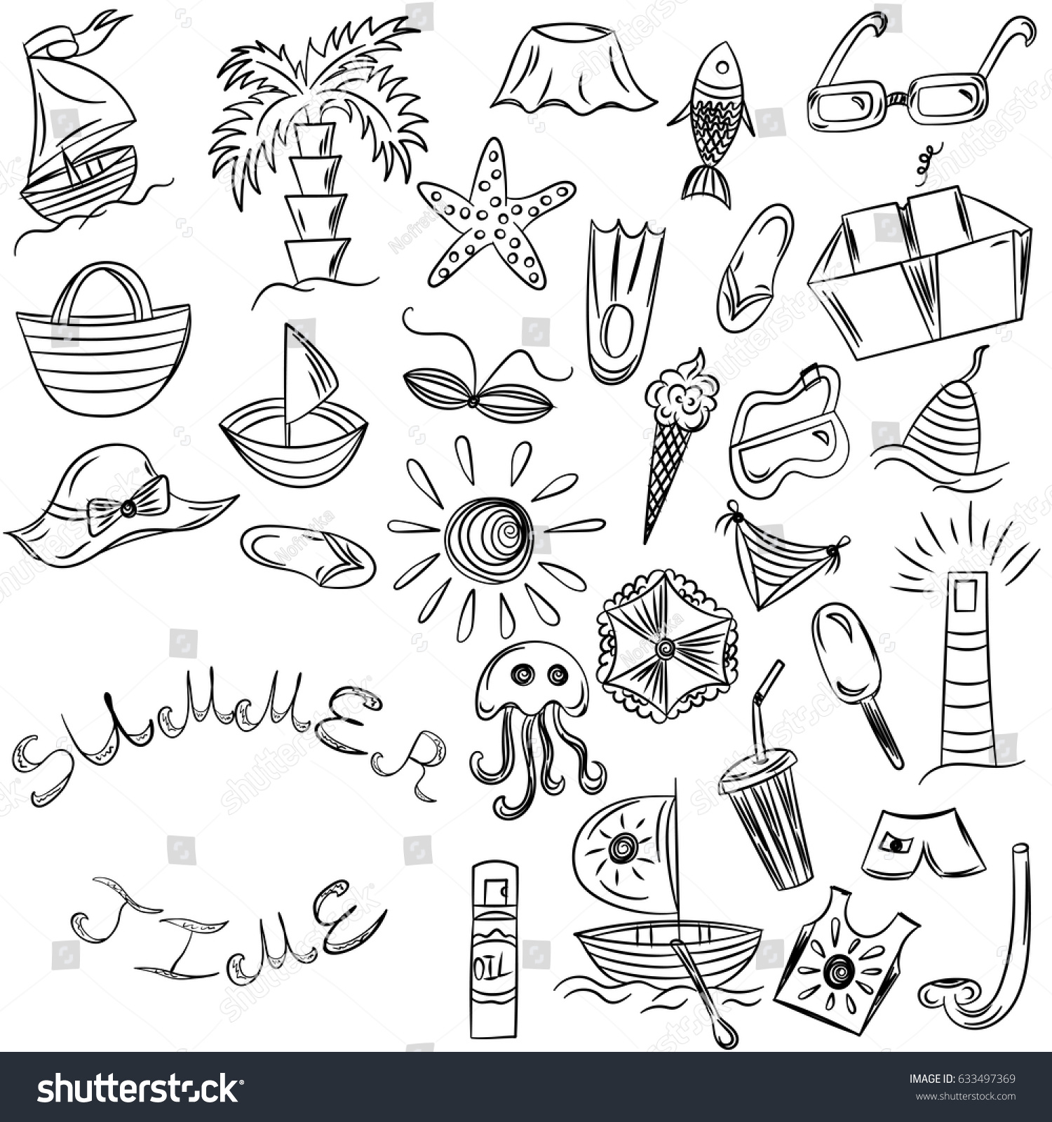 Uncategorized Drawings Of Summer summer time hand drawings vacancies stock vector 633497369 of symbols doodle boats ice cream