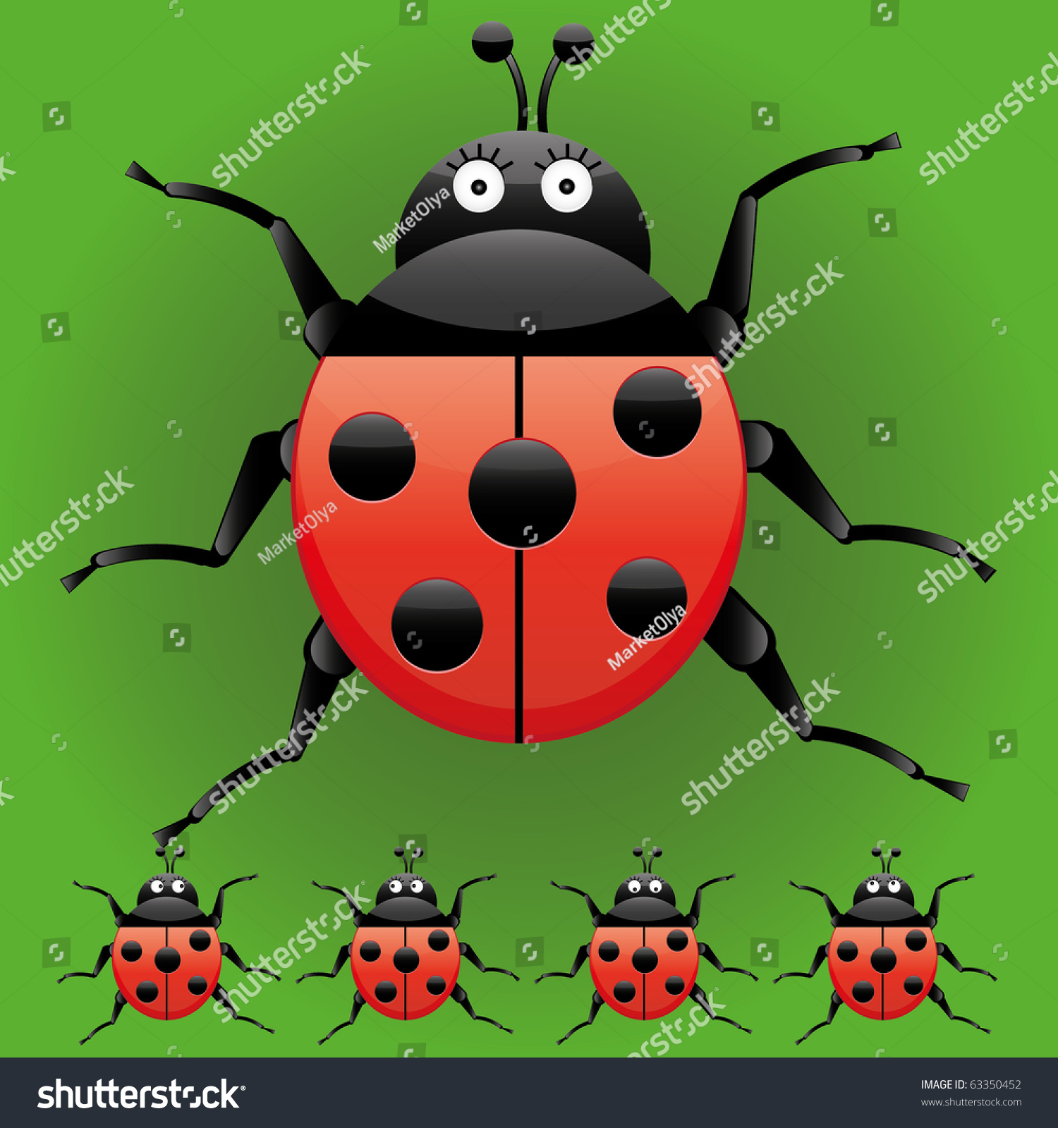 set funny ladybugs looking left right stock vector 63350452