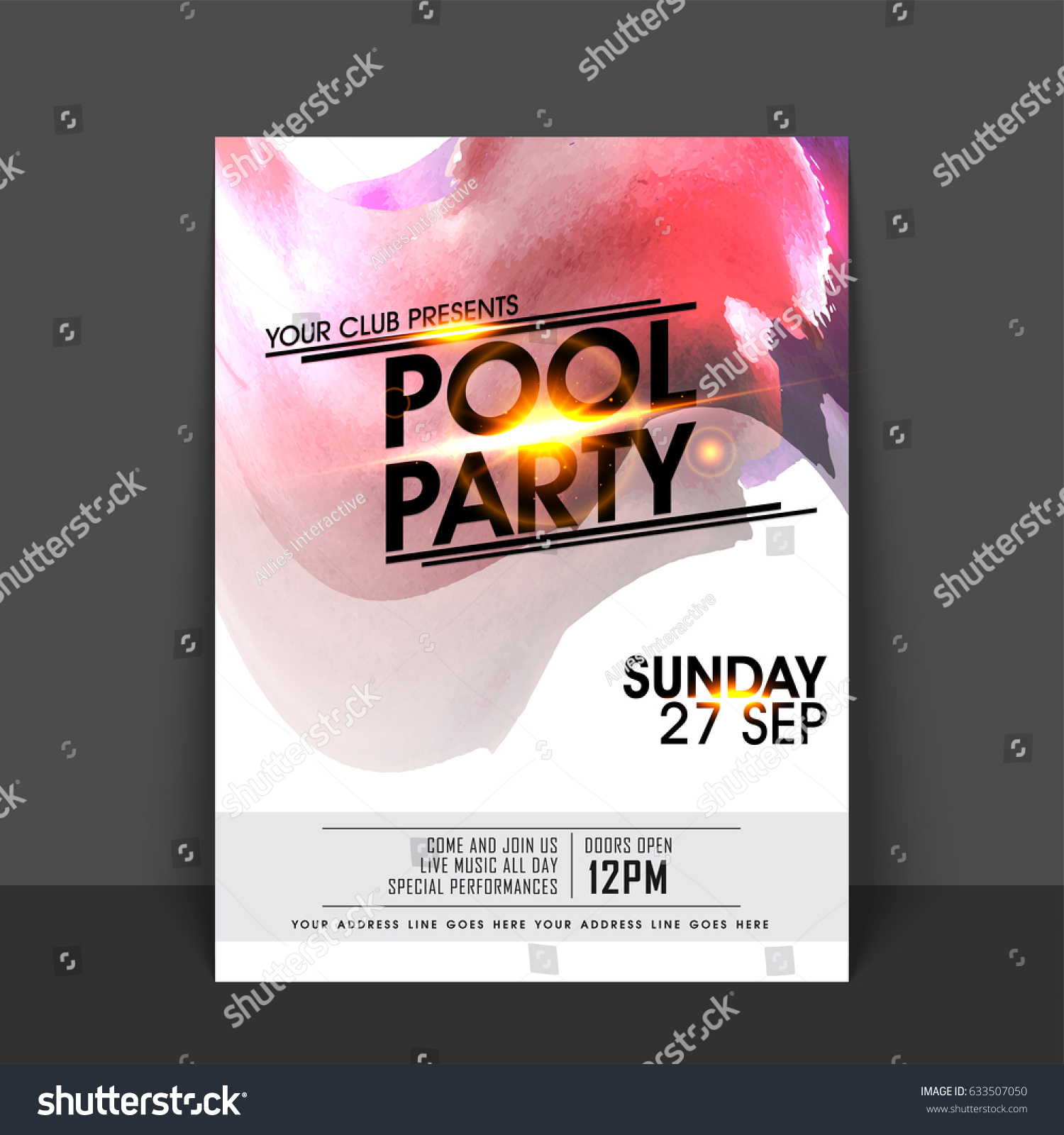 Pool Party Flyer Template Banner Design Vector 633507050 – Pool Party Flyer Template