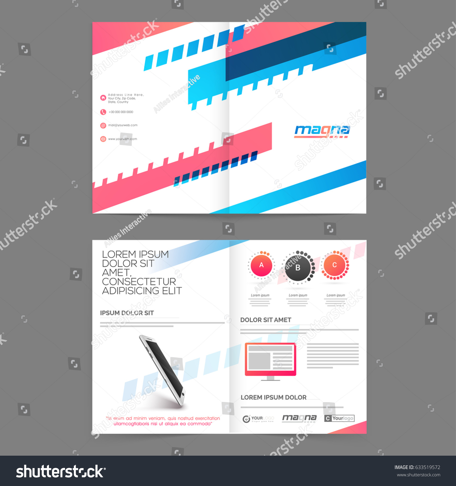Four Pages Brochure Template Presentation Modern Stock Vector - Four page brochure template