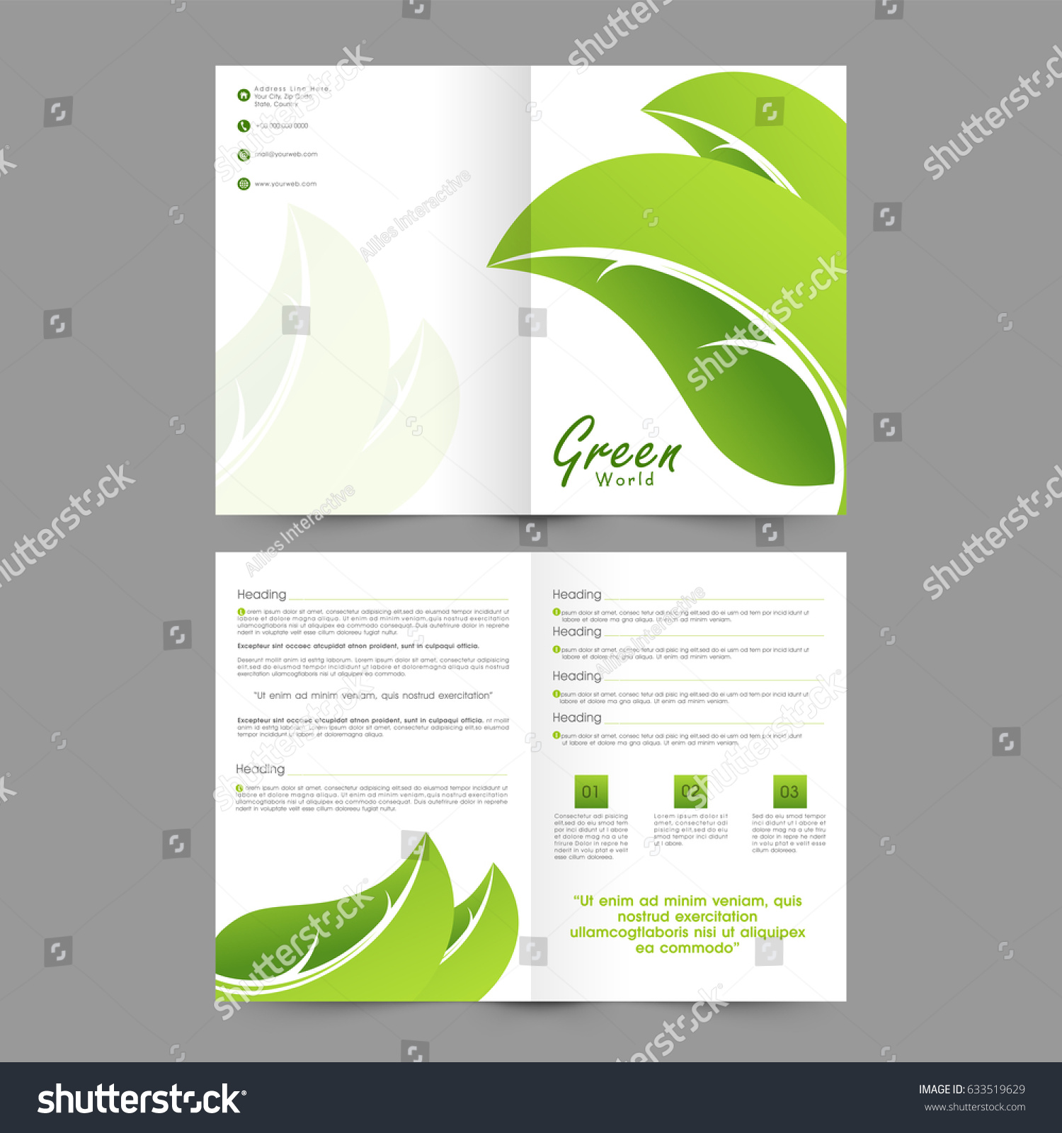 green brochure template - creative brochure template design green leaves stock