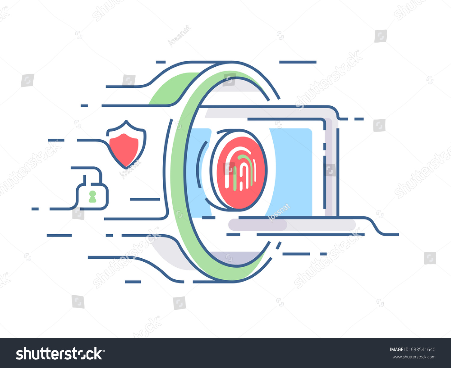 Digital Security Information Laptop Passes Through Stock Vector