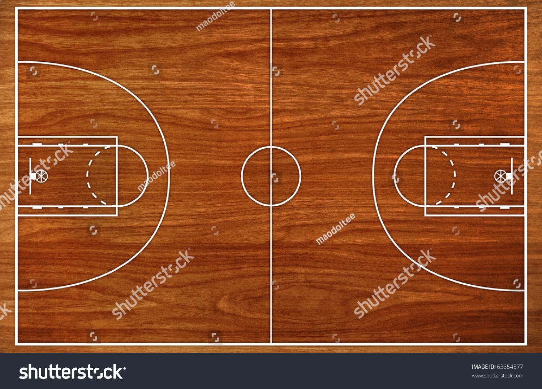 Basketball Court Floor Plan: Basketball Court Floor Plan On Wooden Pattern Stock Photo