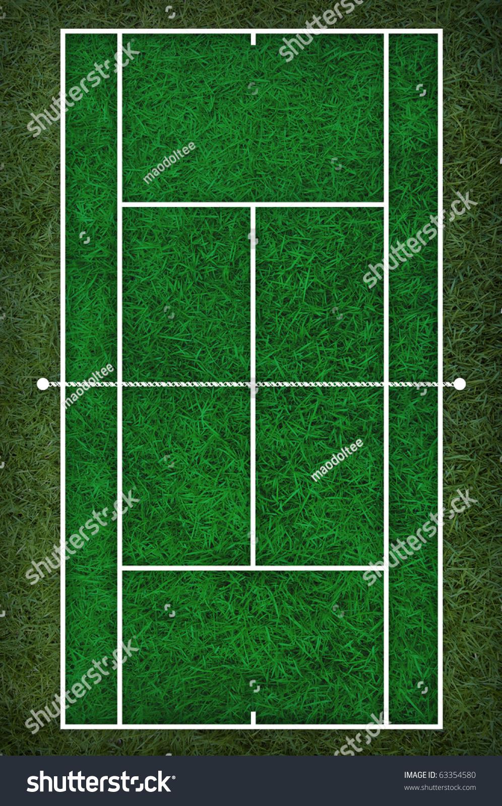 tennis court floor plan on grass stock illustration