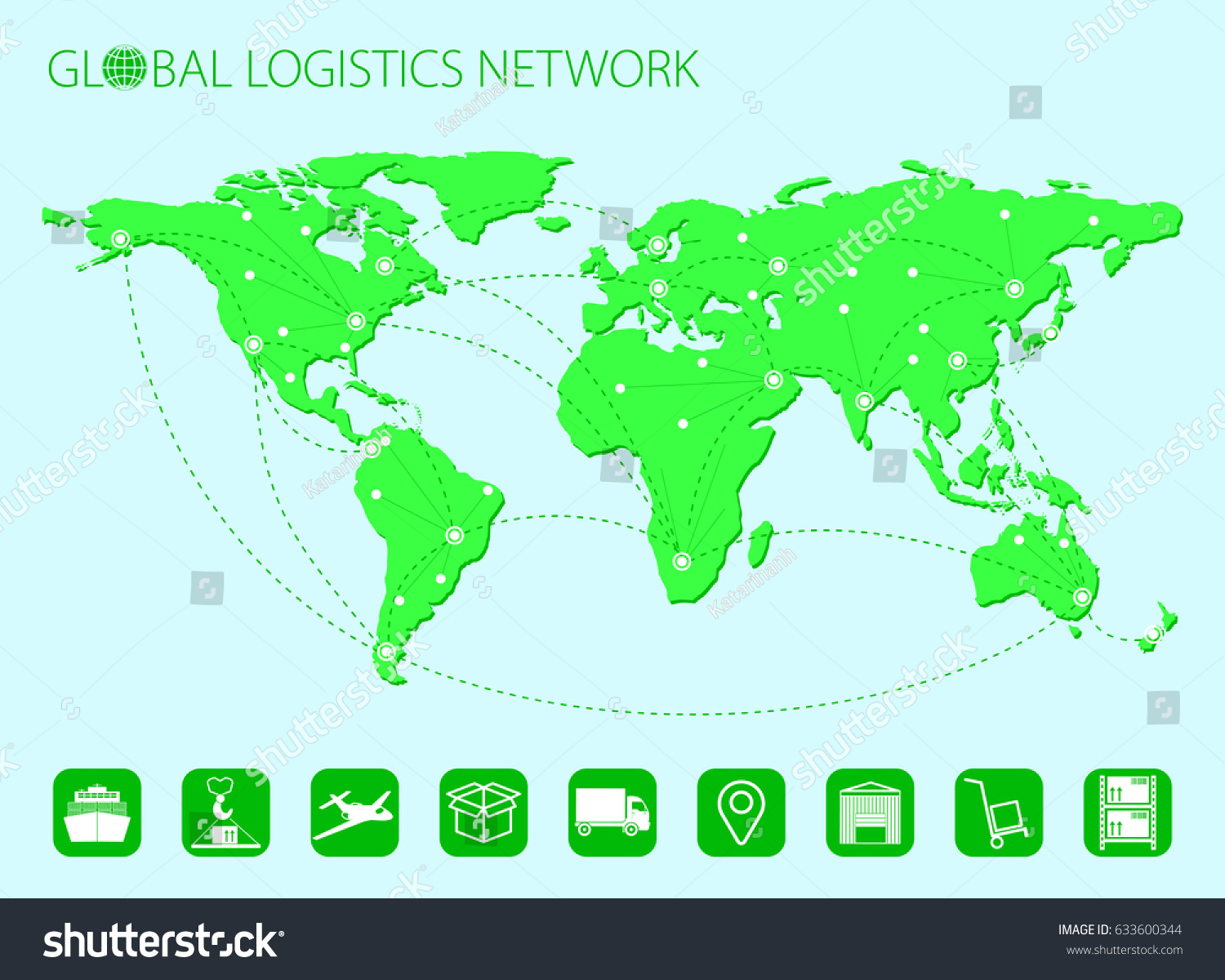Global logistics network world map set stock vector hd royalty free global logistics network world map set of logistics icons stock vector flat gumiabroncs Image collections