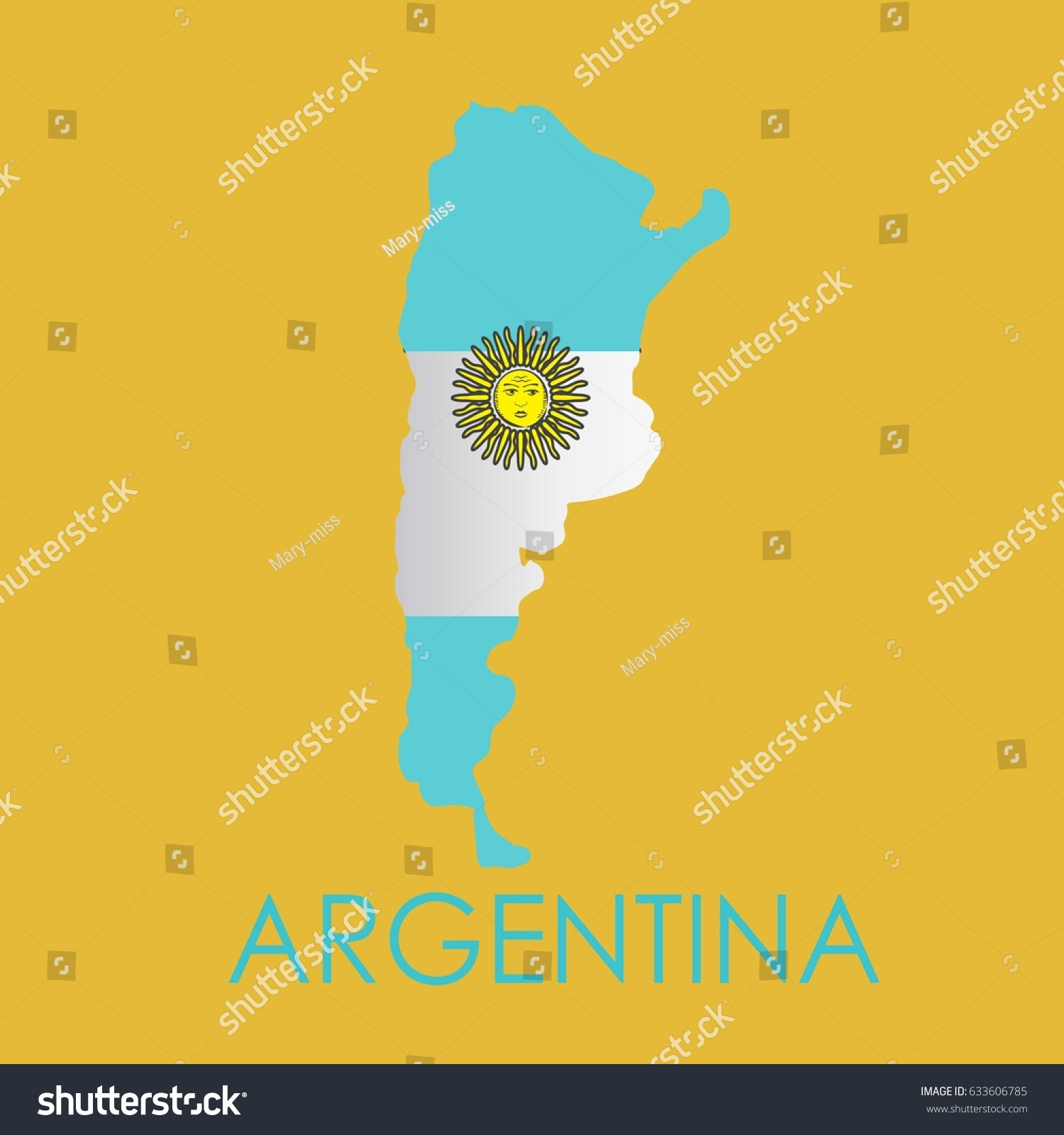 Abstract Map Print Flag Argentina Stock Vector - Argentina map to print