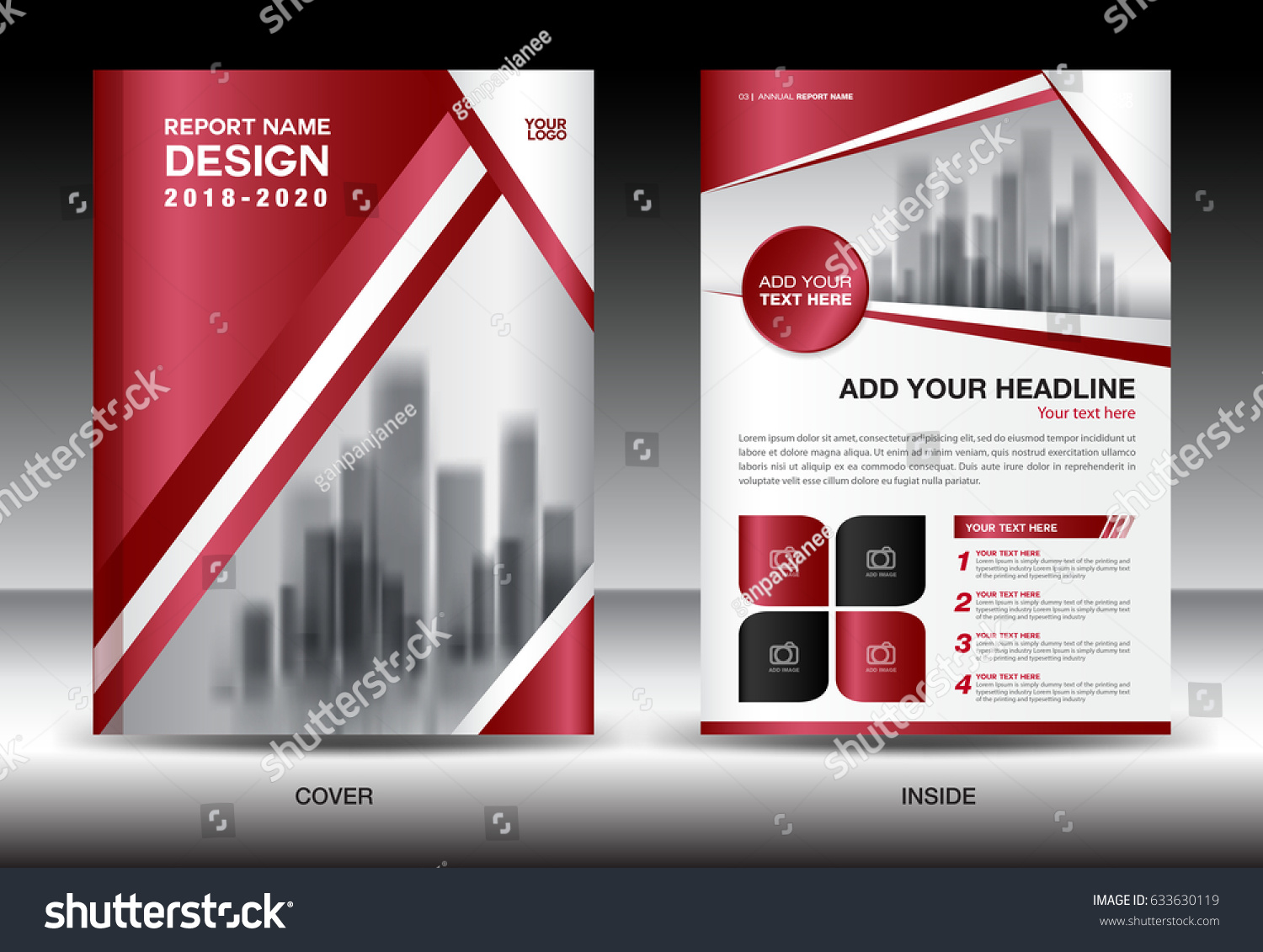 business brochure flyer template red cover のベクター画像素材