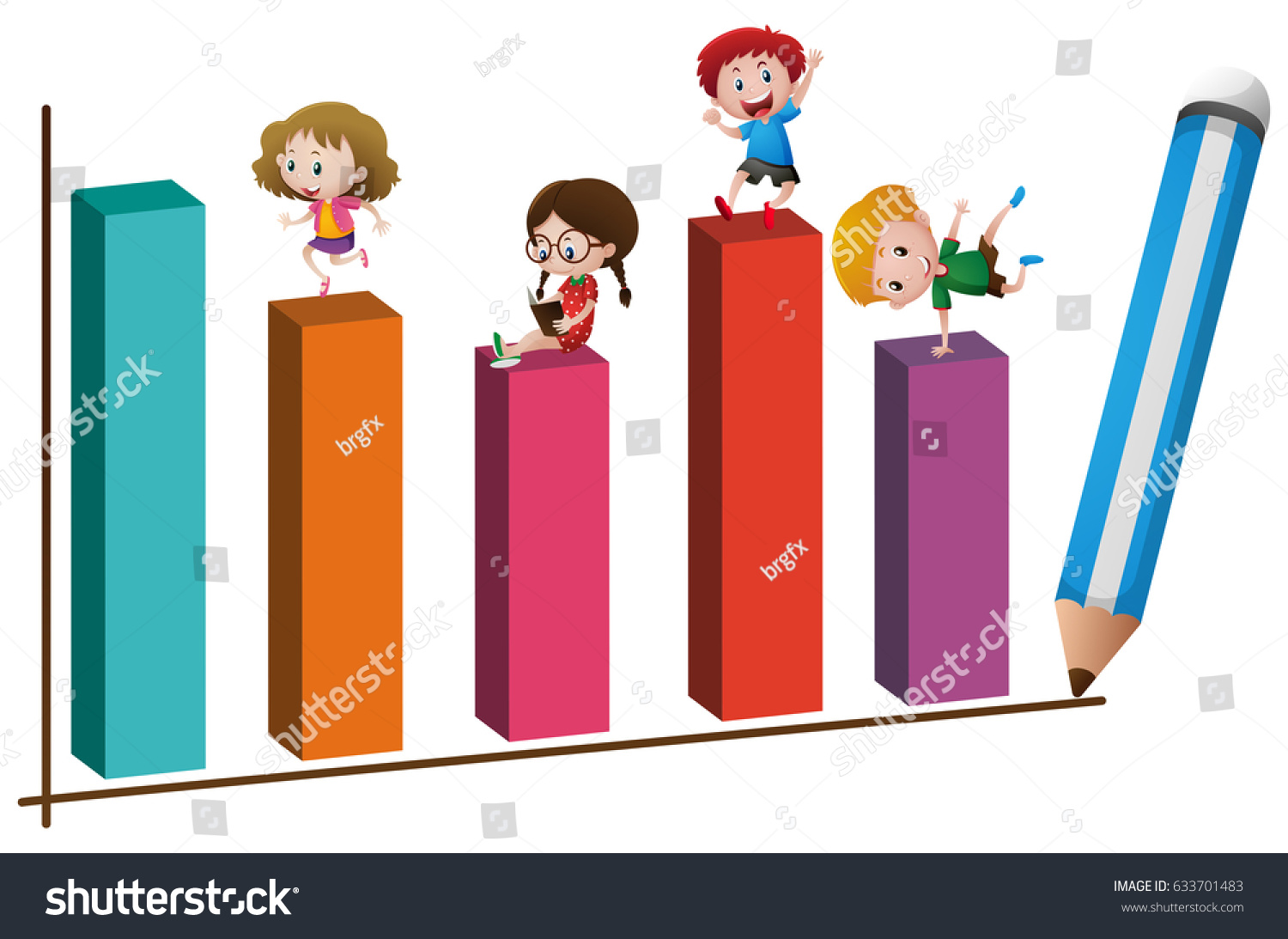 kids playing on graph stock vector (royalty free) 633701483