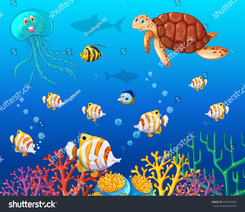 many types sea animals under ocean stock vector 633704630