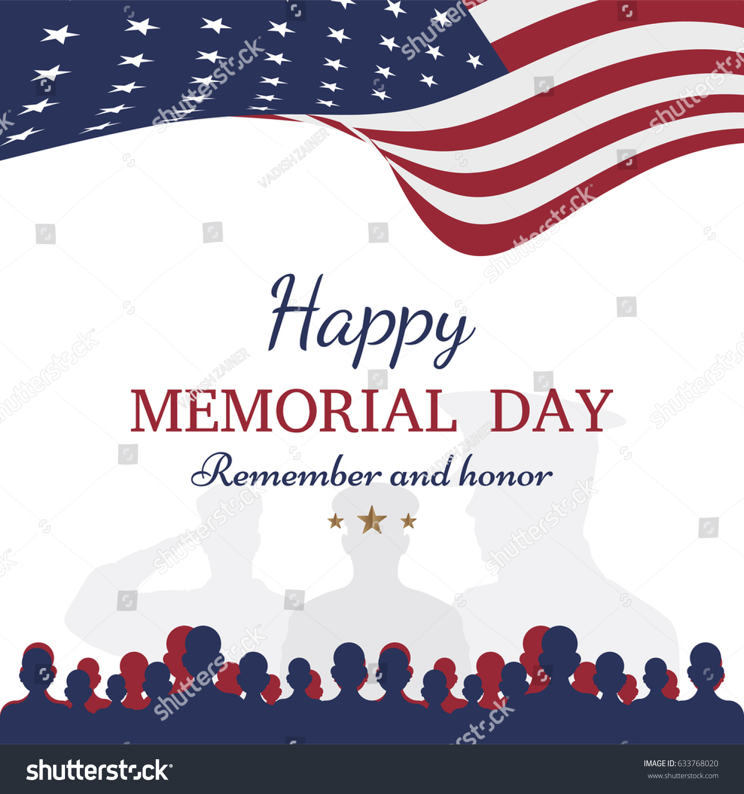 Happy memorial day greeting card flag stock vector 633768020 greeting card with flag and soldier on background national american holiday kristyandbryce Images