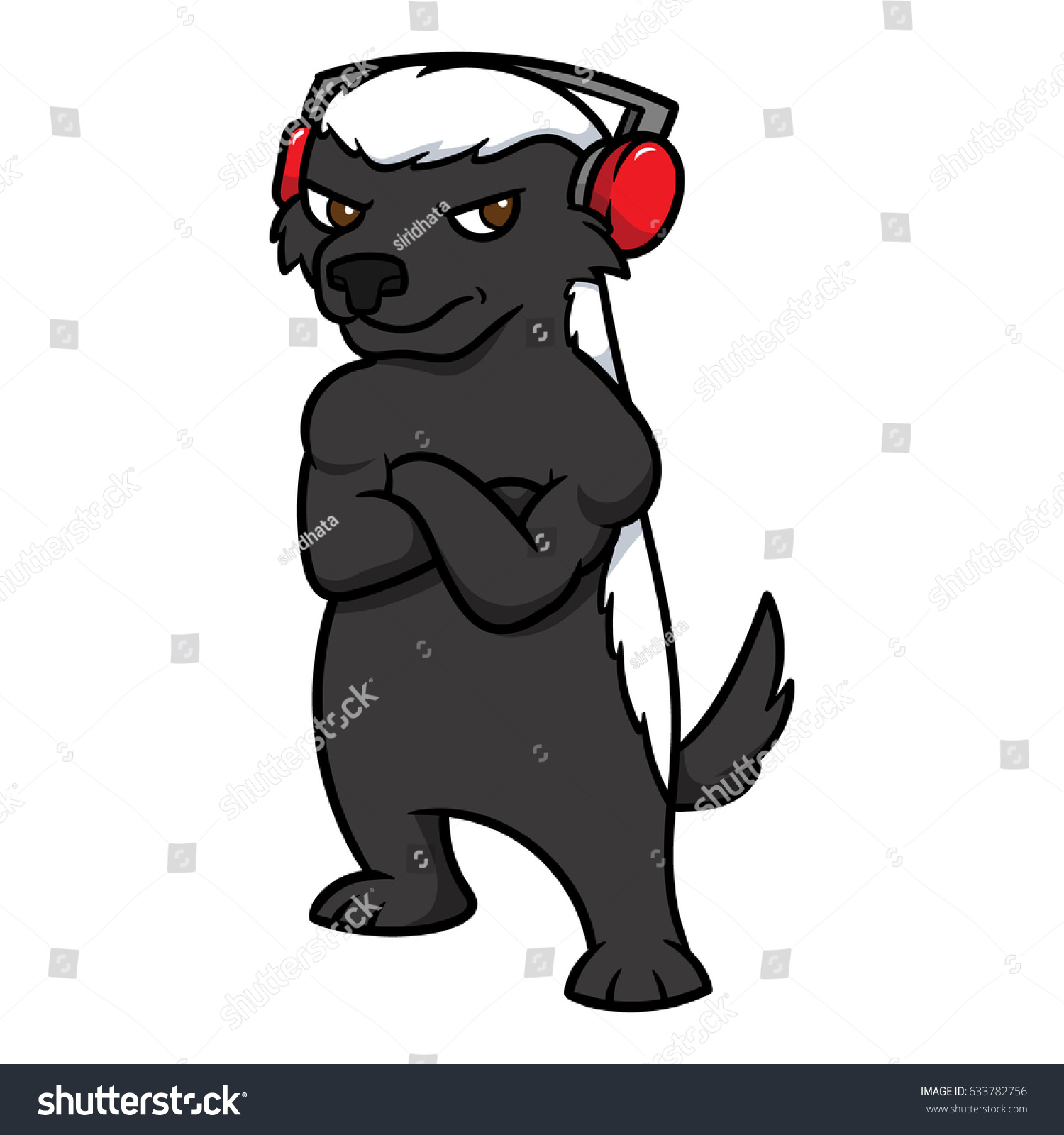 Cartoon Honey Badger Wearing Headphones Vector Stock ...  Cartoon Honey B...