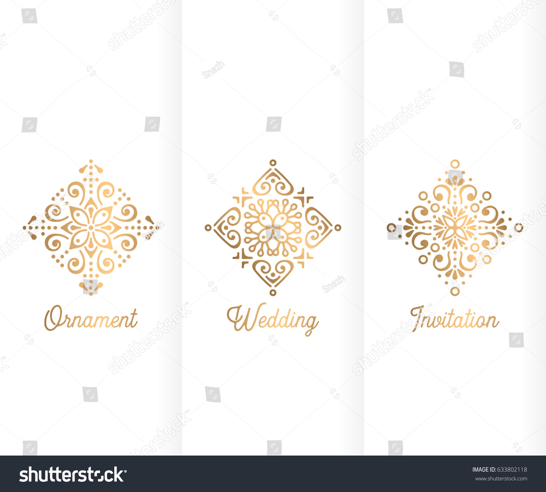 Wedding Invitation Vintage Decorative Elements Ornamental Stock ...