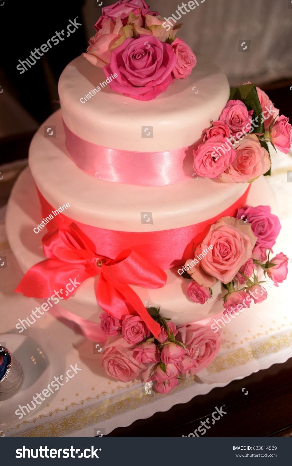 Beautiful White Pink Wedding Cake Stock Photo (Edit Now) 633814529 ...