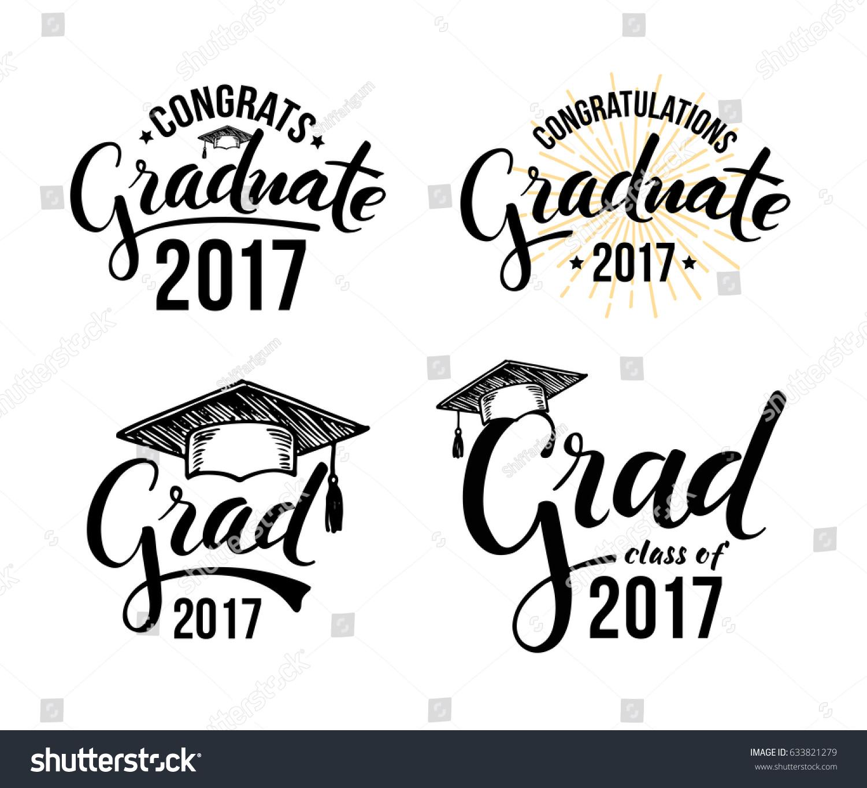 congratulations graduate 2017 set graduation labels のベクター画像