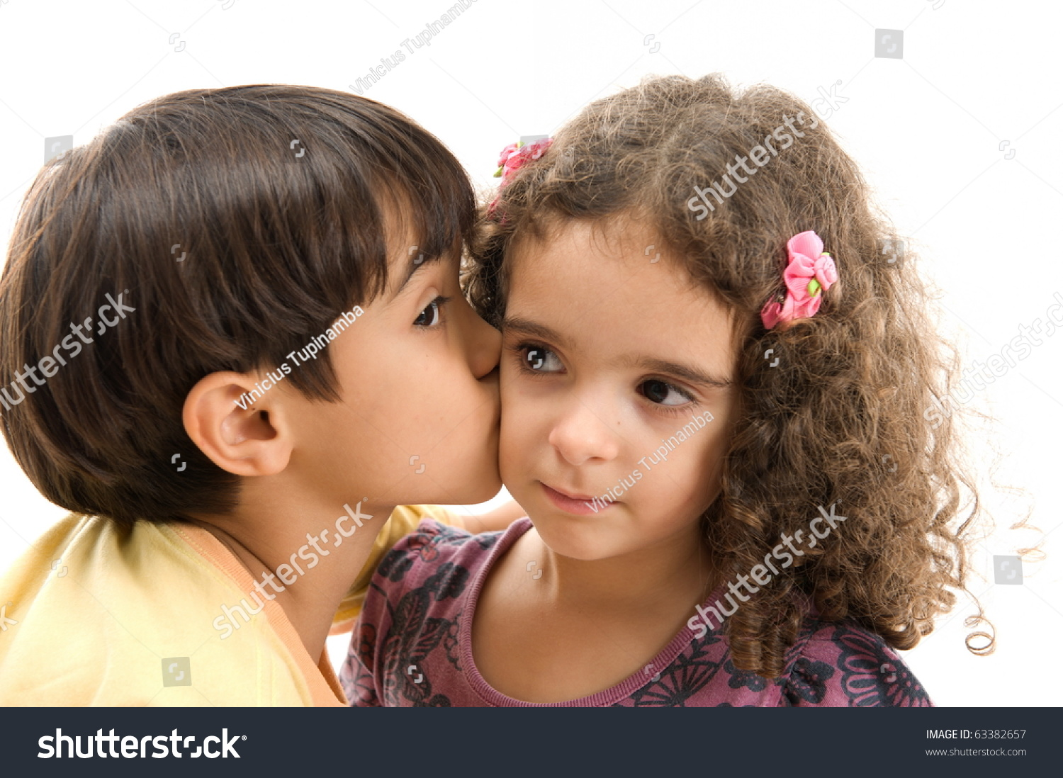 Young Boy Kissing Girl Face Stock Photo Edit Now 63382657