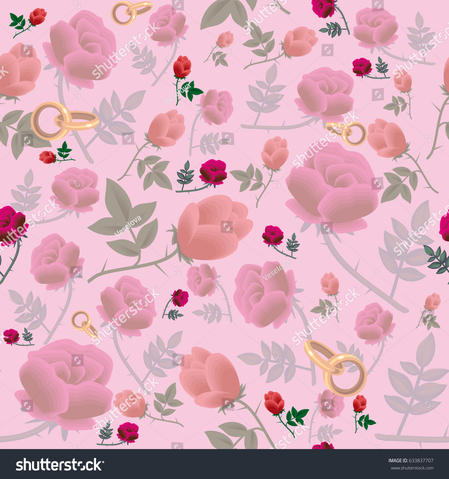 Seamless Texture Pink Color Flowers Wedding Stock Vector 633837707 ...