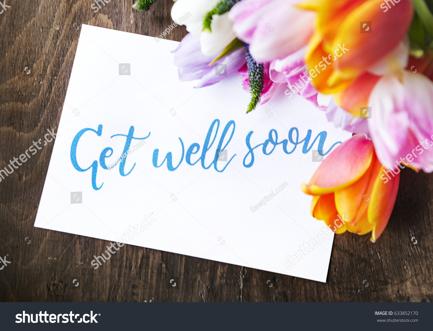 Tulips flowers bouquet get well soon stock photo 633852170 tulips flowers bouquet with get well soon wishing card dhlflorist Images