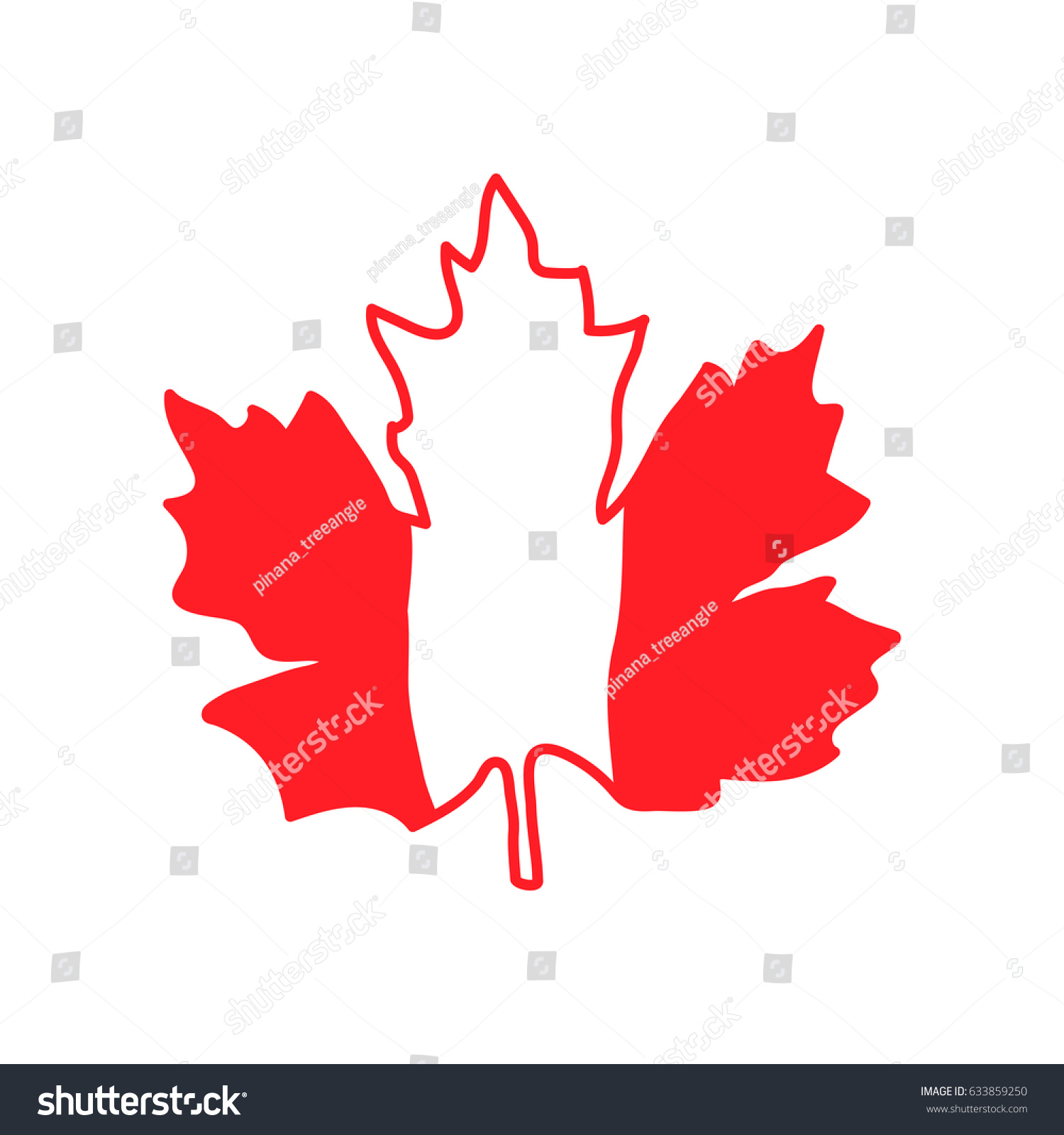 vector illustration striped maple leaf symbol stock vector