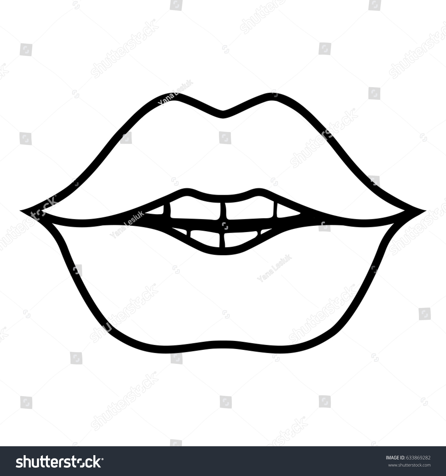 It's just an image of Effortless Lips Outline Drawing
