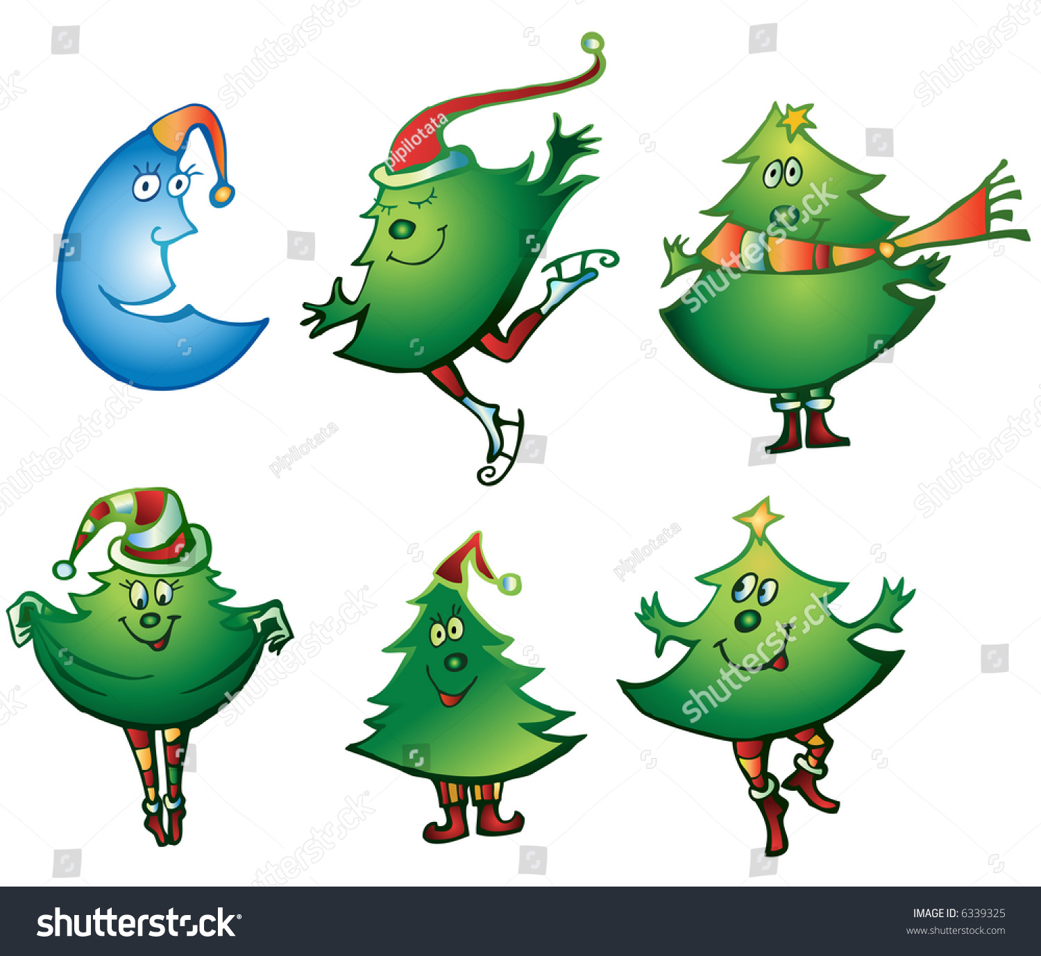 Christmas Tree Icon Set Stock Vector Royalty Free