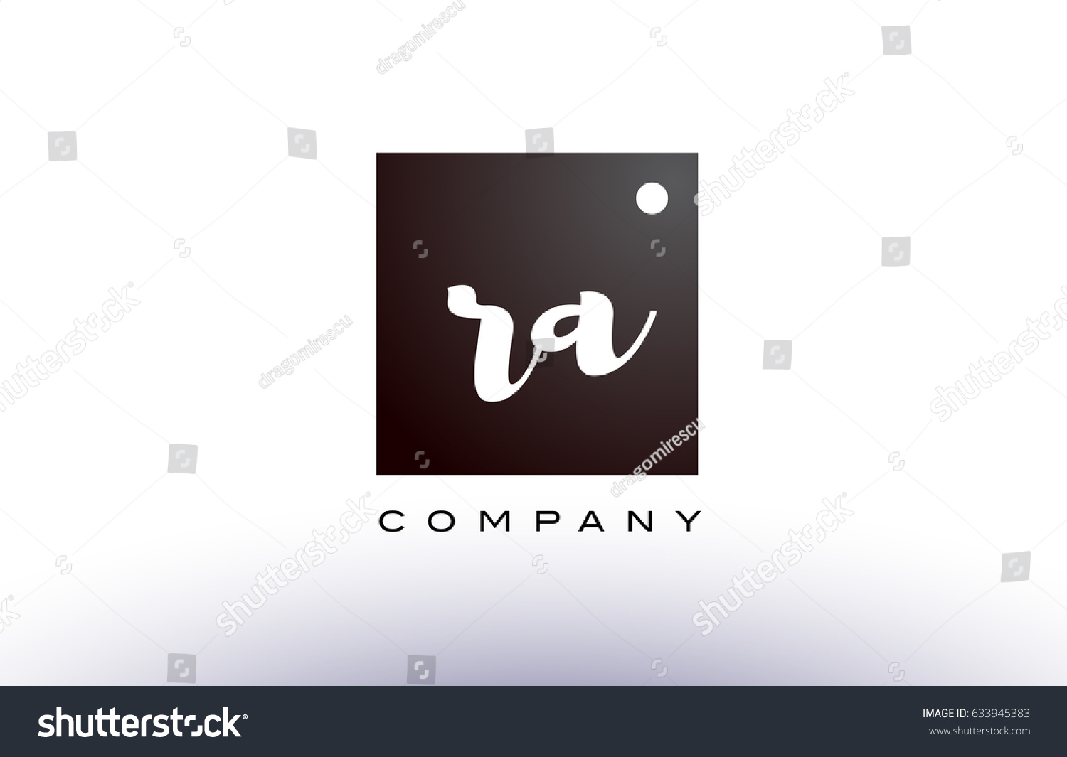 RA R Q black white handwritten handwriting alphabet company letter logo  square design template dot dots creative