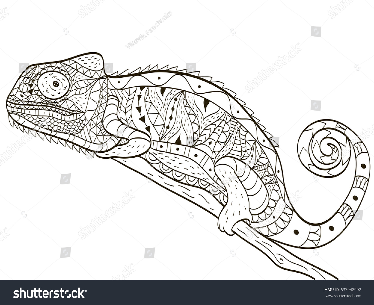 Chameleon Animal Coloring Book Adults Vector Stock Vector Royalty