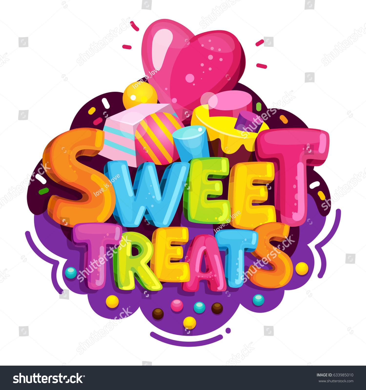 Sweet Treats Cartoon Vector Logo Isolated Stock Vector