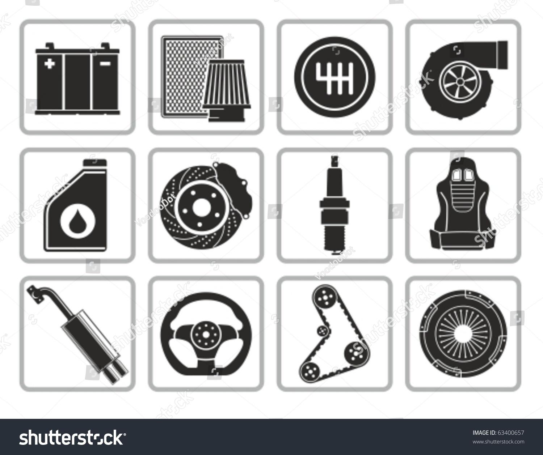Vector Black Car Parts Icons Set Stock Vector 63400657