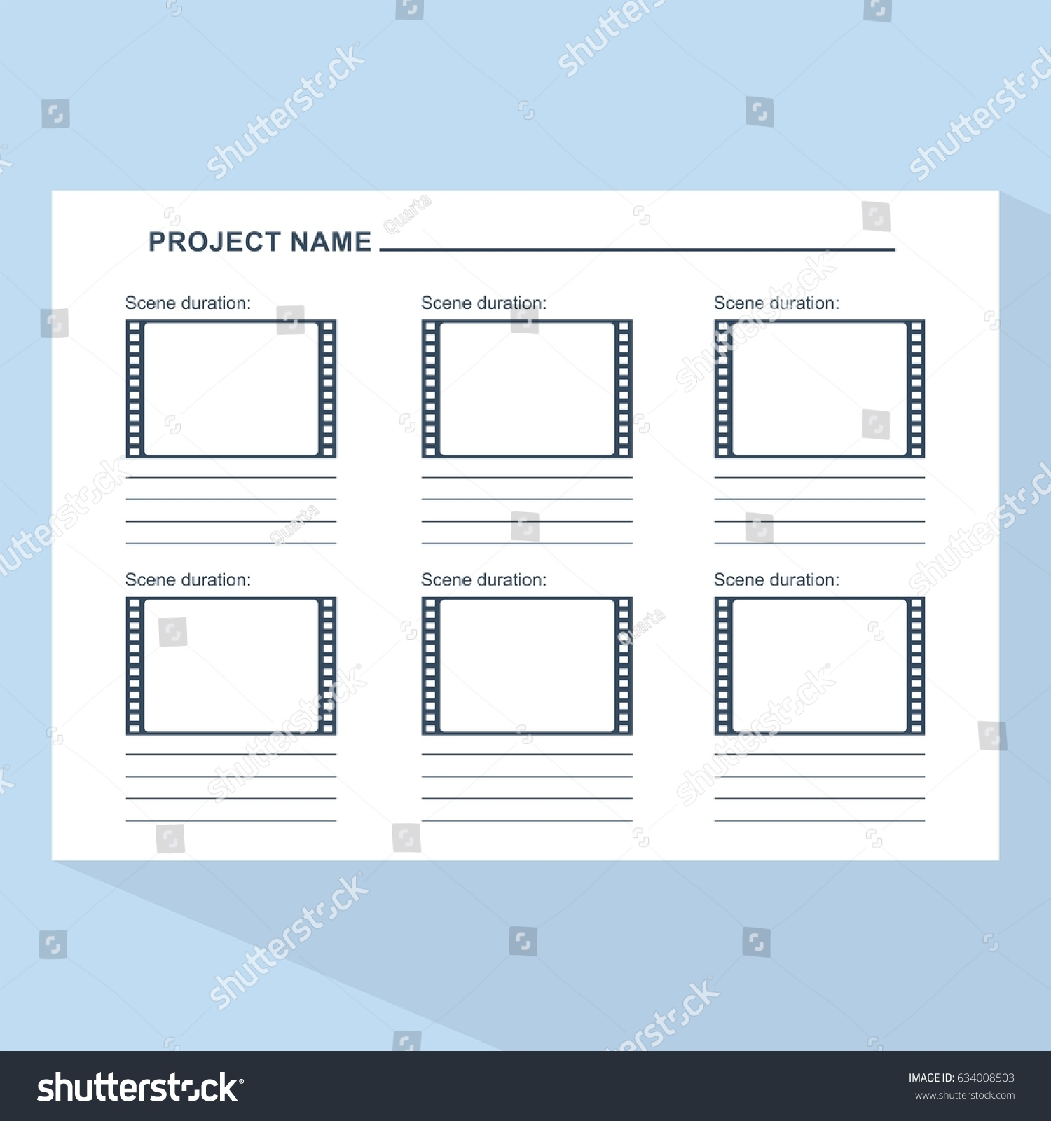 storyboard template form film scenario media stock vector 634008503