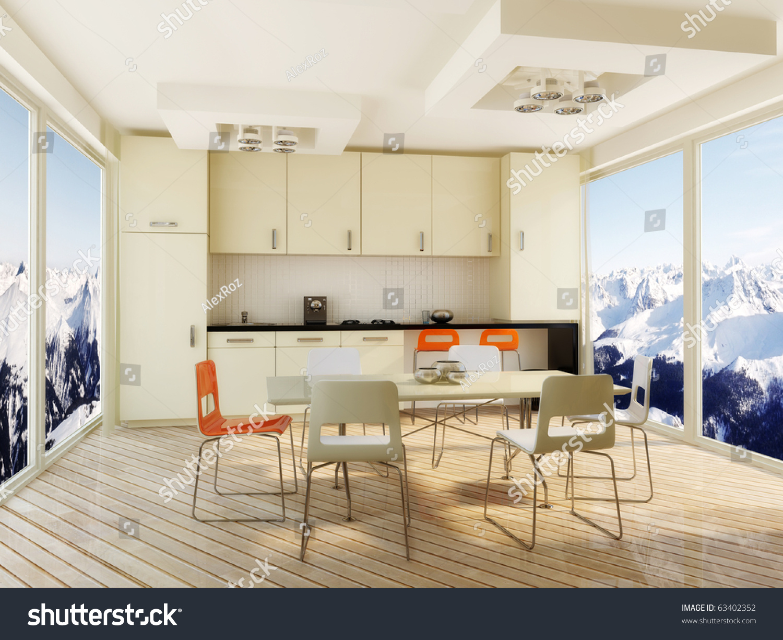 White Interior Kitchen Orange Chair Stock Illustration 63402352 ...