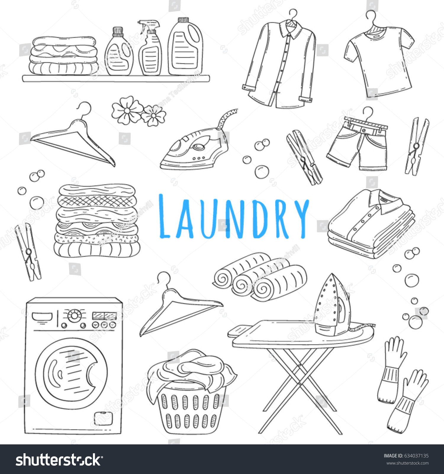 Laundry Service Hand Drawn Doodle Icons Stock Vector Royalty Free