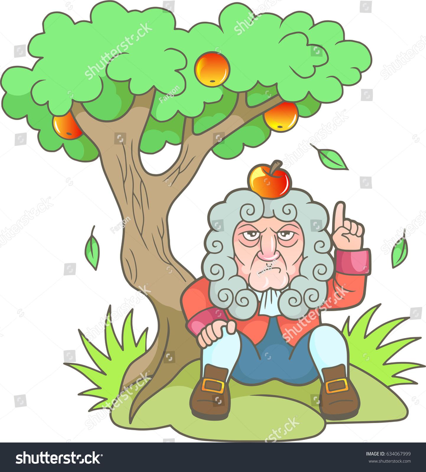 Cartoon Newton Sits Under Apple Tree Stock Vector (2018) 634067999 ...