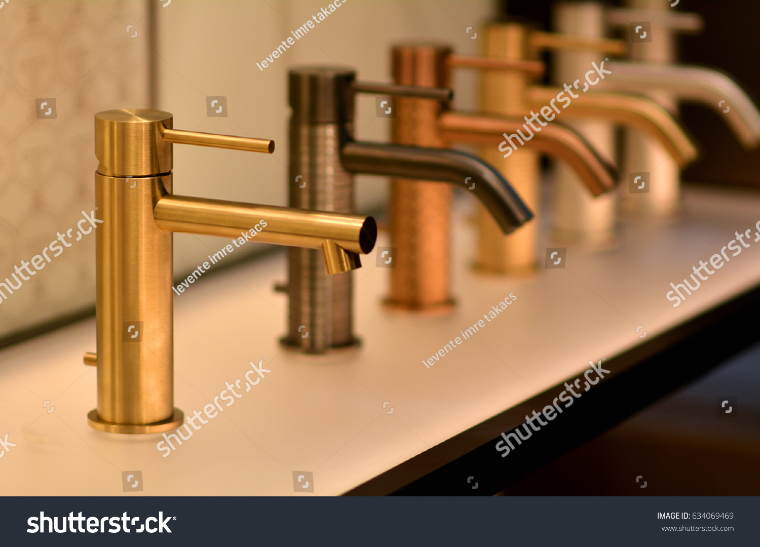 Luxury Bathroom Gold Faucet Golden Faucet Stock Photo (Royalty Free ...