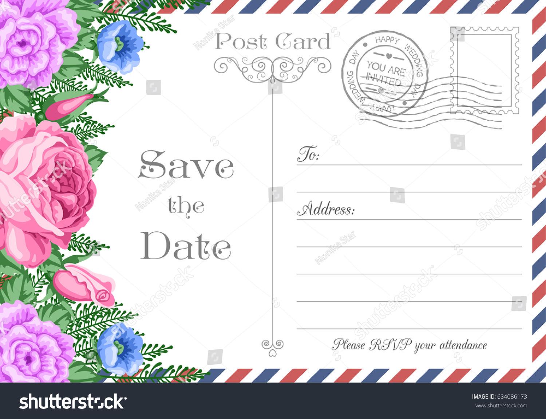 Vintage Postcard Wedding Invitation Template Flowers Stock Vector ...