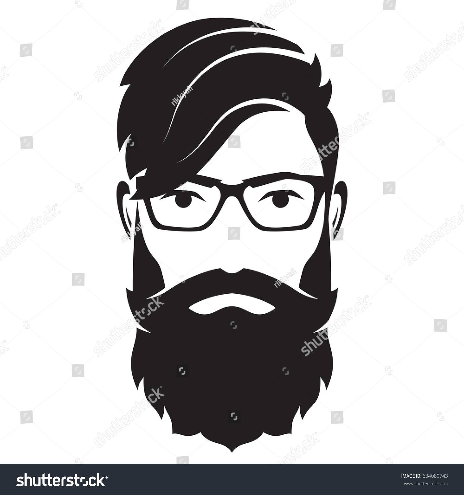 Bearded Men Face Hipster Character Fashion Stock Vector ...