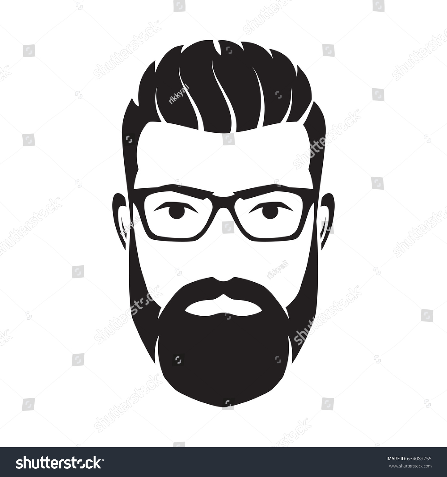 Bearded Men Face Hipster Character Fashion Stock Vector 634089755 Shutterstock
