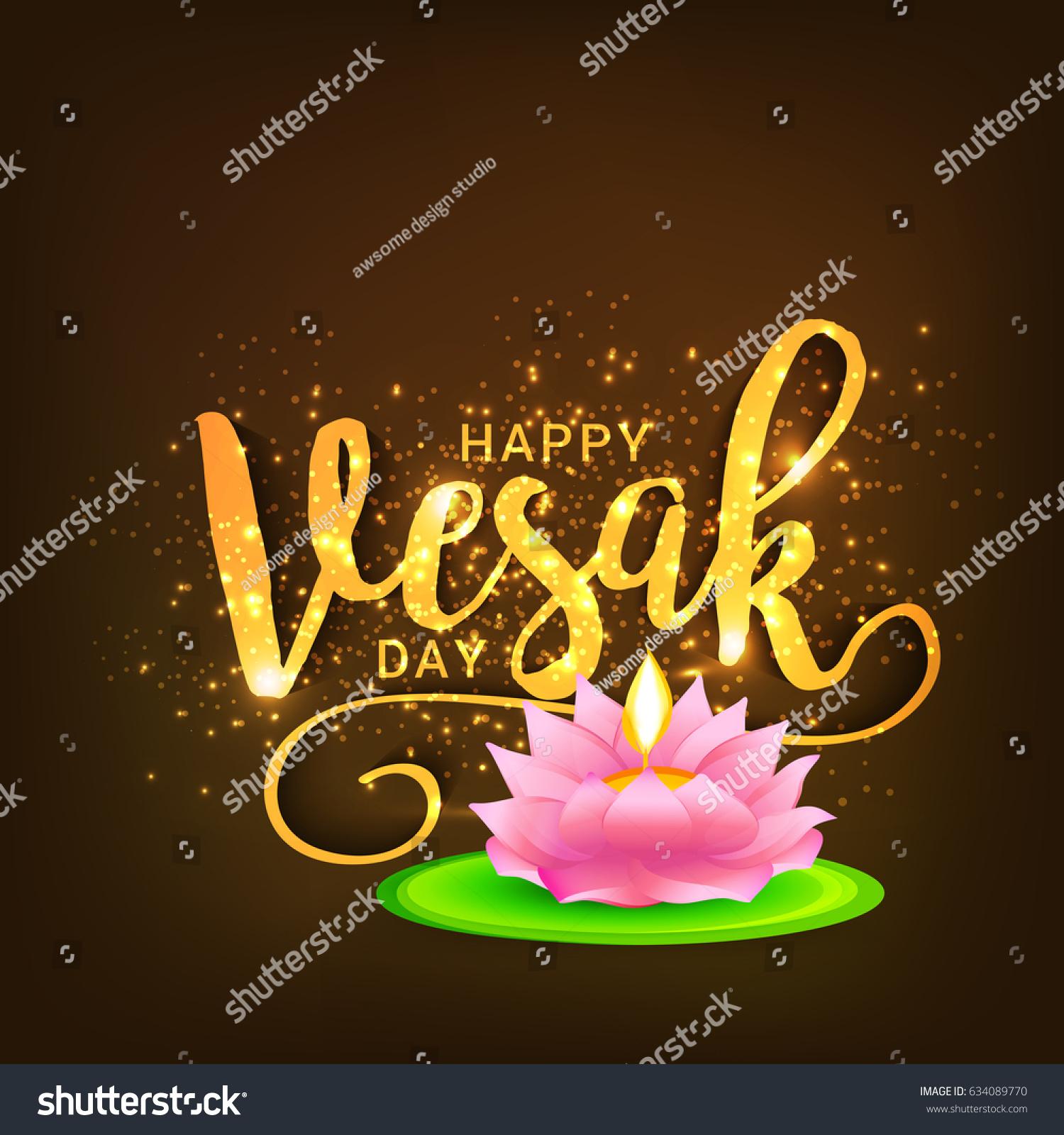 Illustration Happy Vesak Day Buddha Purnima Stock Vector Royalty