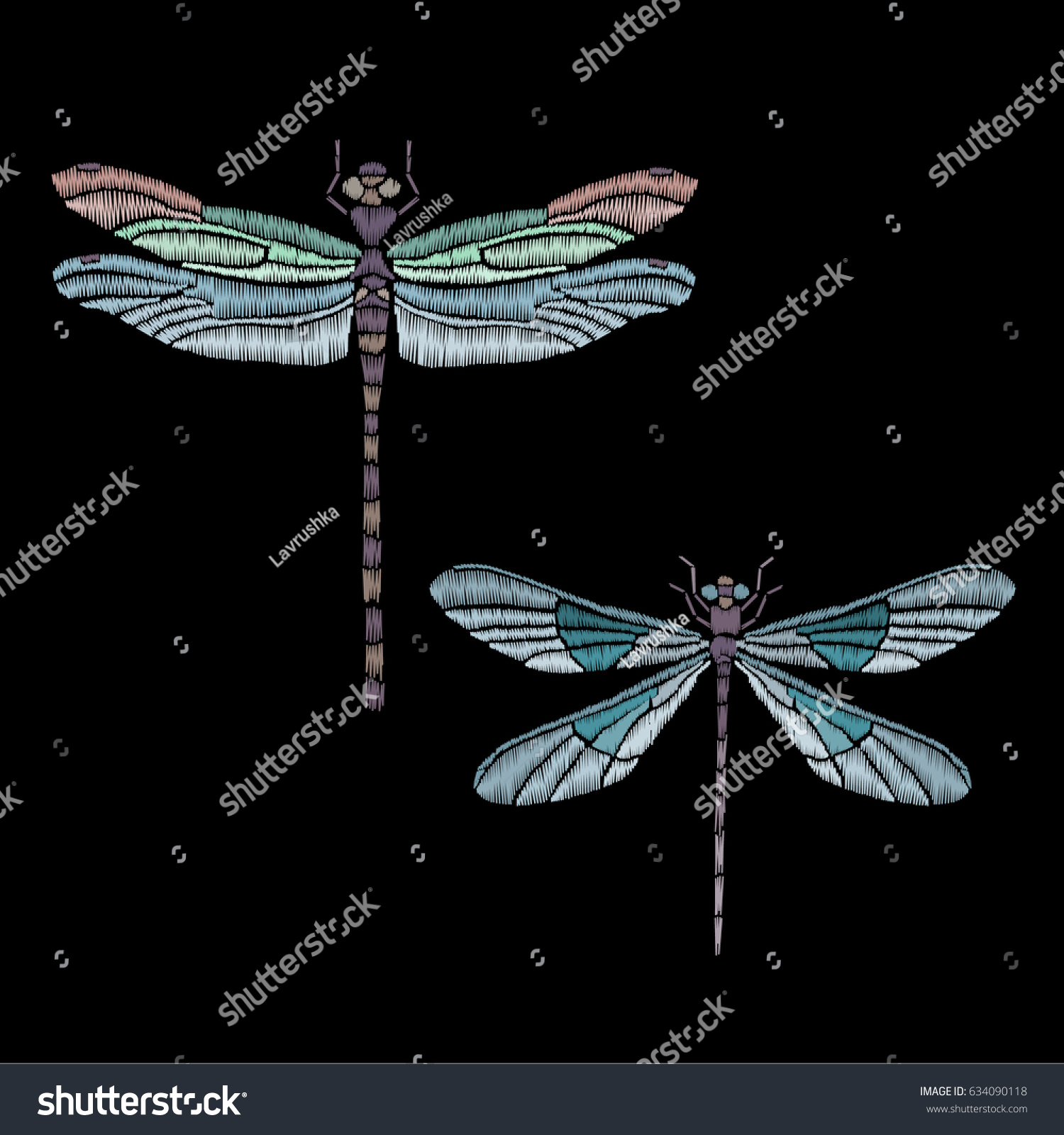 set vector vintage dragonfly decorative element stock vector